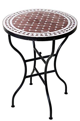 ORIGINAL Marokkanischer Mosaiktisch Bistrotisch ø 60cm Groß rund klappbar | Runder kleiner Mosaik Gartentisch Mediterran | als Klapptisch für Balkon oder Garten | Marrakesch Bordeaux Weiß 60cm