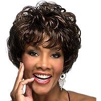 Fleurapance resistente al calore parrucca capelli corti ondulati ricci onda  naturale sintetico marrone breve Bob Style 53578d3b28be