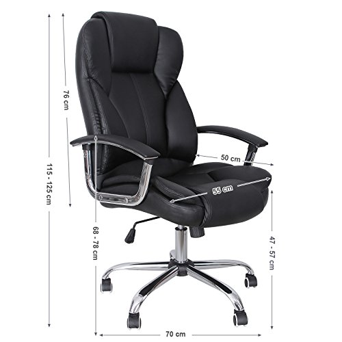 Songmics Office Chair with High Back Large Seat and Tilt Function Executive Swivel Computer Chair PU Black OBG57B