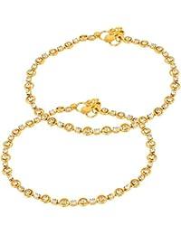Jugli Jewels Gold Brass Anklet for Women (JJ022)