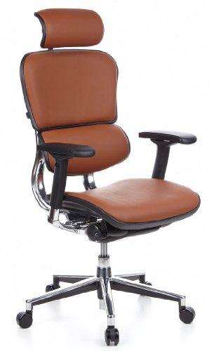 HJH OFFICE 652250 Bürostuhl / Chefsessel Ergohuman Leder, braun