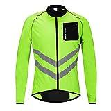WOSAWE Giacca da Ciclismo da Uomo Ultraleggera Wind Stopper Cappotto Impermeabile Giacca Traspirante a Maniche Lunghe (Lunghe Verde XL)