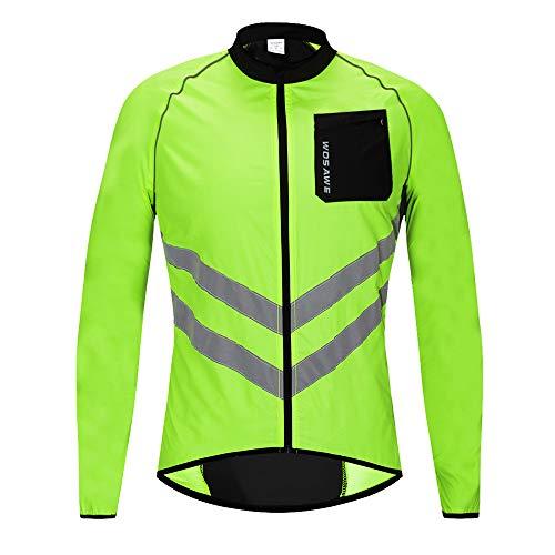WOSAWE Giacca da Ciclismo da Uomo Ultraleggera Wind Stopper Cappotto Impermeabile Giacca Traspirante a Maniche Lunghe (Lunghe Verde XXXL)