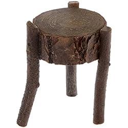 Mini Simple Muebles Ornamento Taburete Redonda Madera