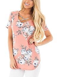 EOZY T-Shirt Col v Imprimé Floral Top Manches Courtes Tunique Chemise