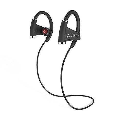 Écouteur Bluetooth Oreillette Temps de Musique 12-15 Heures Casque Étanche IPX7 sans Fil avec Microphone Écouteur Sport Stéréo Anti-Transpiration Oreillette Anti-bruit Bluetooth 4.1 Compatible avec iPhone, iPad, iPod, Samsung d'autres Smartphones