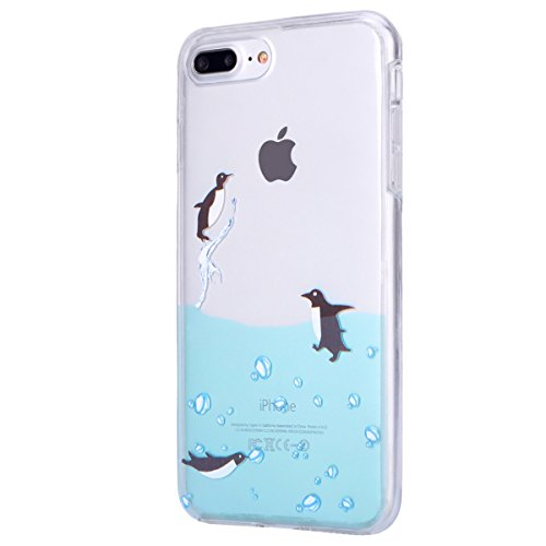 JAWSEU Coque pour iPhone 7,iPhone 7 silicone Etui Transparent,iPhone 7 TPU Case Rose Or,2017 Neuf Design Pailletee Sparkle Glitter Flash Diamant Strass Placage Soft Gel Protective Case Cover Ultra Sli pingouin natation