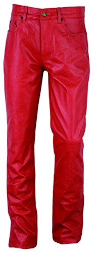 """Fuente Retro"" Slim fit Tube Lederhose Herren Damen lang - Lederjeans- Leder hose Jeans 501 Rot- Motorrad Lederjeans- 1A Qualität Rind Antik Retro Nappa Rot Rot Antik"