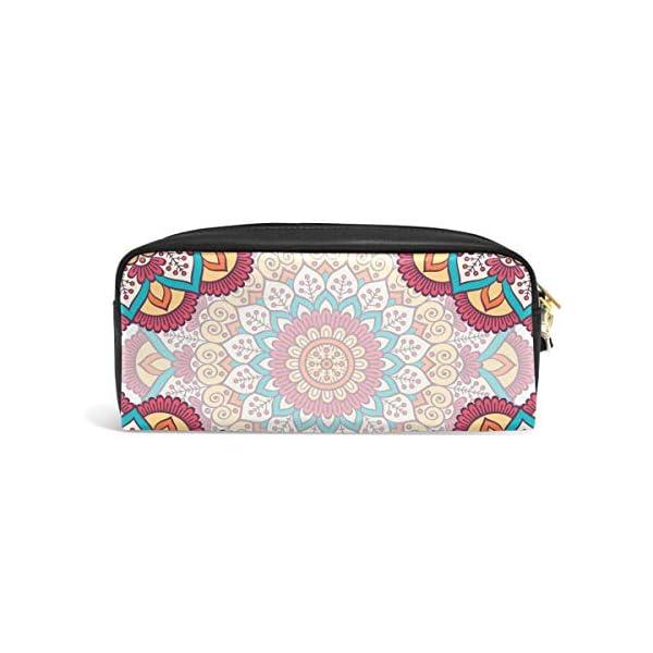 Estuche étnico con diseño floral y mandalas para lápices, gran capacidad, con doble cremallera resistente para la…