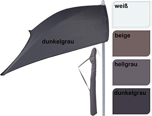 halber Sonnenschirm 160×100 cm beige weiß grau Schirm rechteckig Balkonschirm (Dunkelgrau) - 2