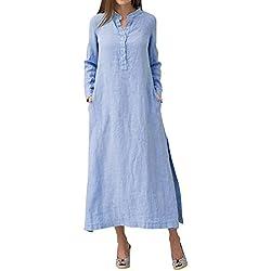 Robe Hiver Femme Chic Longue ChampêTre Lin Grande Taille Fendue Et Jupes De Cheville Bleu 3XL