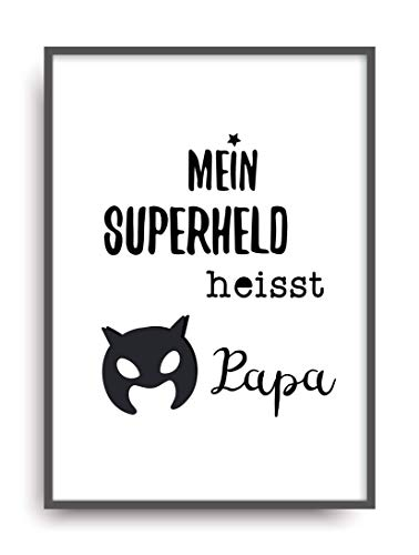 Kunstdruck SUPERHELD PAPA Poster Bild Print ungerahmt DIN A4