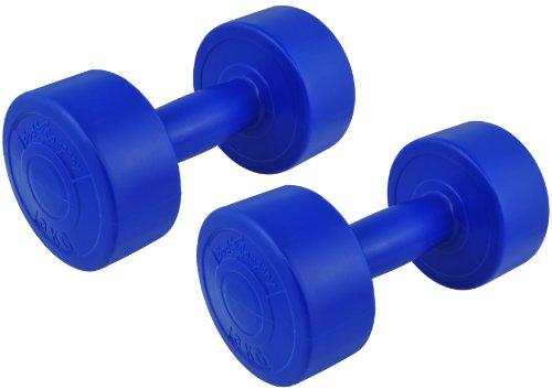 6 Kg (2x3) Kunststoff-ummantelte Gymnastikhanteln blau / Fausthanteln / Rundhanteln