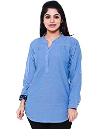 00739145a00 Twist Women s Cotton Dark Blue Chambray Linen Casual Party Wear 3 4th  Sleeve Short Kurti