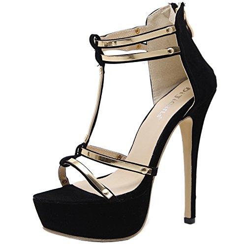 Azbro Women's Open Toe Platform T-Strap High Heels Sandals Black