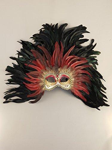 Venezianische Maske Colombina Piuma Maxi (rosso)