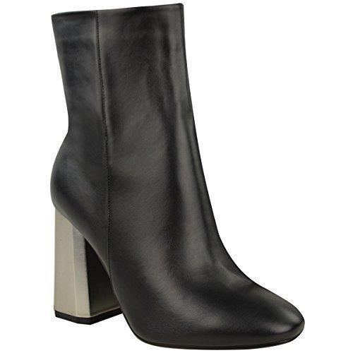 donna metallizzato ESAGONO FACET tacco Stivali Caviglia Chelsea Inverno Party Taglia NERO SIMILPELLE/argento spazzolato cromo