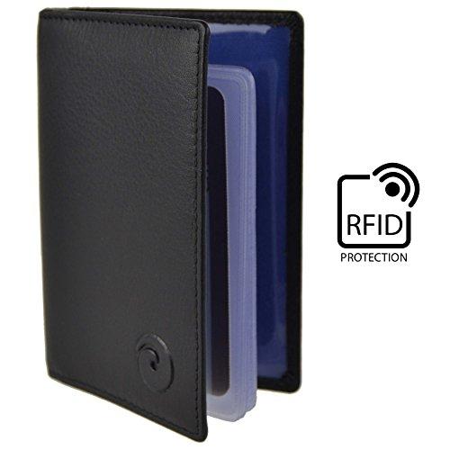 Donna Uomo in pelle protezione RFID Carta Di Credito BORSETTA by Mala; Origin Collezione Regalo viola Black