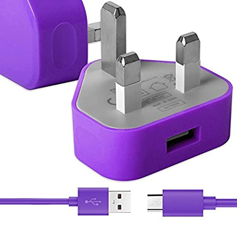 Lila Dünner USB 2.0 Micro USB MicroUSB SYNC & CHARGE Verbinden Sie das Ladegerät Tangle Proof Cable (1.1 Meter) mit UK 3 Pin 1000 mAh Netzteilstecker für Huawei Ascend Mate 2 4g