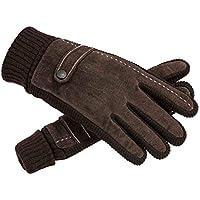 ZHJBD Equipo de Proteccion/Montar en Invierno Frío, Engrosamiento cálido, más Terciopelo, Guantes de Piel de Cerdo, Pantalla táctil, Motocicleta para Ciclismo al Aire Libre (Color : Brown)