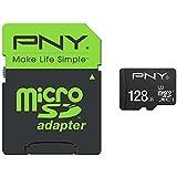 PNY Carte mémoire MicroSDXC High Performance 128 GB Classe 10 UHS-1 U1 avec une vitesse de lecture allant jusqu'à 80Mb/s  avec adaptateur