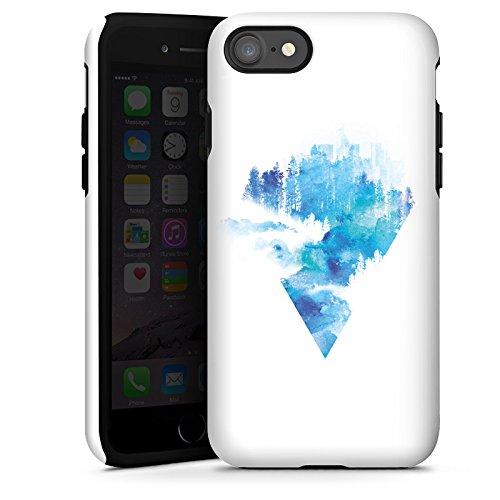 Apple iPhone X Silikon Hülle Case Schutzhülle Dreieck Blau Weiß Tough Case glänzend
