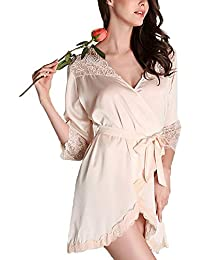 Forall-Ms Bata De Seda Estilo Kimono para Mujer, Túnicas De Novia, Lencería Sexy, Mujeres, Túnica De Raso, Vestido…