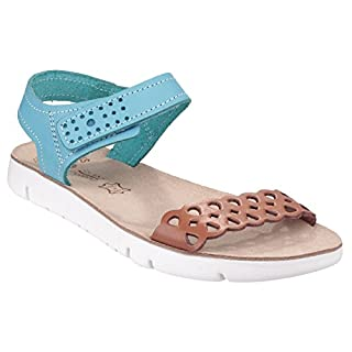 Fantasy Womens/Ladies Agios Contrast Open Toe Sandals (8 UK) (Tan/Blue)