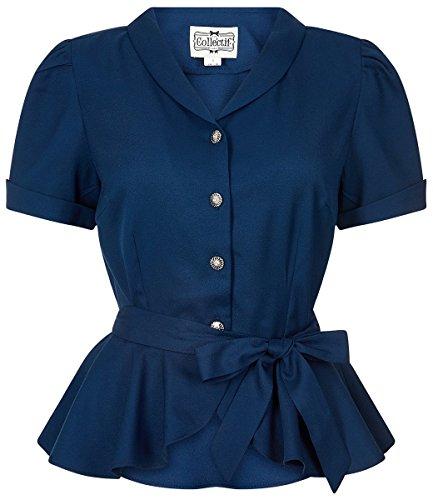 Collectif Damen Bluse Phoebe Peplum Vintage Oberteil Blau XL - 2