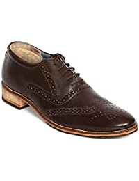 R Stylist Genuine Leather Brogue Men Lace-Up Brown Shoes