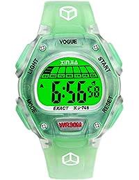 Reloj Digital para niños y niñas, Resistente al Agua, para Deportes (Negro y