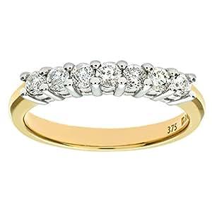 Naava 9 ct Yellow Gold Half Carat Diamond Claw Set Eternity Ring