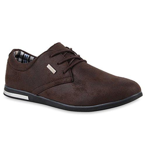 Modische Herren Business Schnürer Halb Sneakers Prints Leder-Optik Freizeit Schuhe 109435 Dunkelbraun Dark Brown 40 Flandell