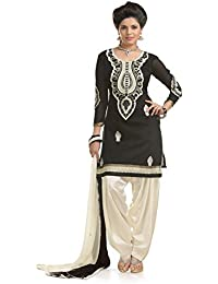 Ava Silk Mills Black Cotton Semi-Stitched Salwar Suit Dress Material(ava239_Black_Free Size)