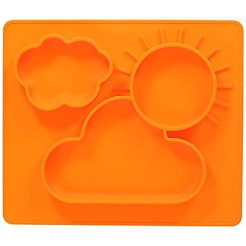 jatedo Baby Assiettes et espace tapis 2en 1–pour votre bébé ou enfant (35x 30cm, orange) | en silicone sans BPA, PVC et phtalaten | antidérapant avec Ultra adhésive Effet