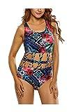 Cloe Valentine Women's Crisscross Detail Cutout Floral One Piece Swimsuit(CV LC410068,Multi-Coloured,Freesize)