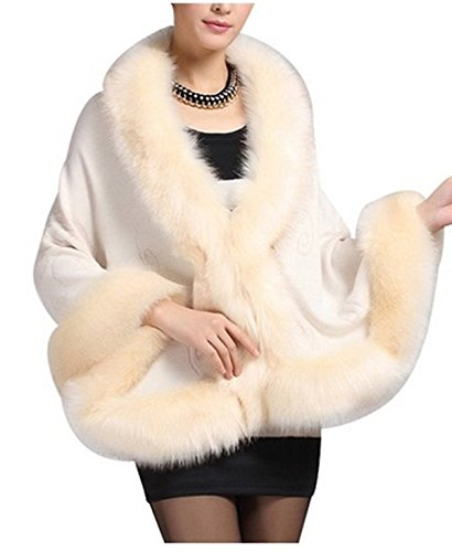 atopdress@Women Ladies Girls Floral Cape Coat Faux Fur Knitwear Pounch Cloak Shawl Wrap (one size, beidge)
