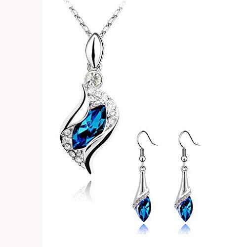 Floweworld Damen Schmuck Set Halskette Ohrringe Fashion Crystal Waterdrop AnhäNger Halskette Ohrstecker Ohrringe