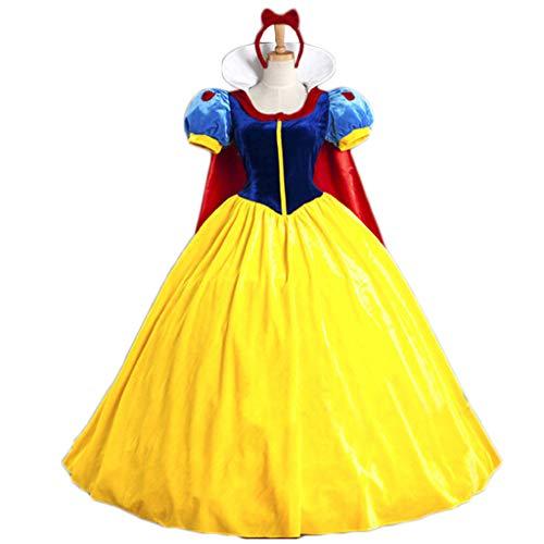 GanSouy Schneewittchen Kleiderkleidung Rollenspiel Uniform, Vergnügungspark Schneewittchen Rollenspiel Uniform, Halloween Party Makeup Kleidung,Snow White-S (Halloween S Make-up)