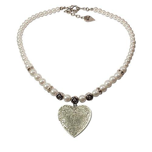 Trachtenschmuck Trachtenkette Perlen & Amulettherz (cremeweiß) * Damen Dirndlkette, Perlenkette Oktoberfest