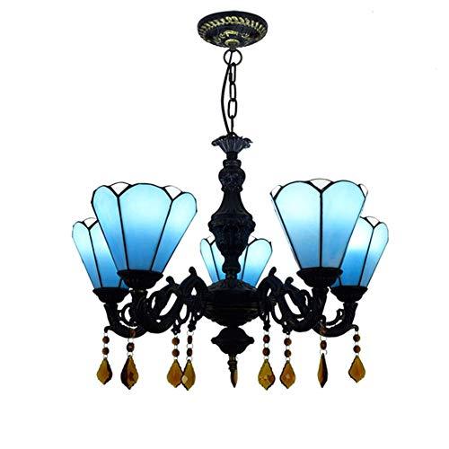 SXFYWYM Kronleuchter Eisen Kunst kreative Glas Tiffany Klassische verstellbare Deckenleuchte für Hotel Bar Restaurant Anhänger Beleuchtung,Blue,60x80cm -