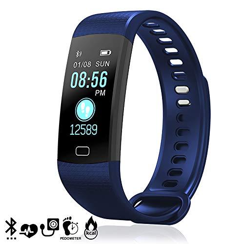 dam tekkiwear. dmz009bl. bracciale bluetooth intelligente ak-y2s display a colori, monitor cardiaco, o2 nel sangue, notifiche per ios e android. blu