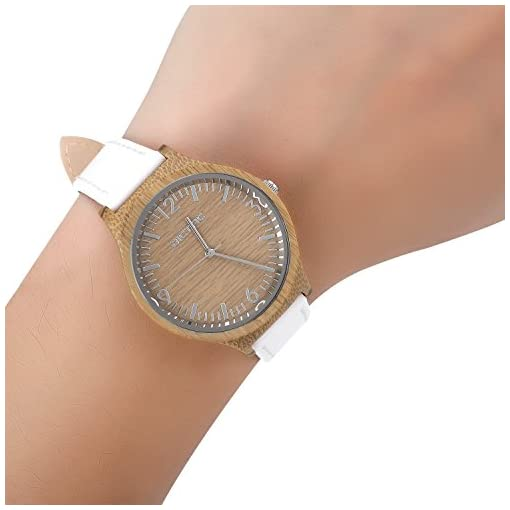 Dictac Wristwatch Lady Bamboo Case and White Leather Strap Business Casual Classic Watch