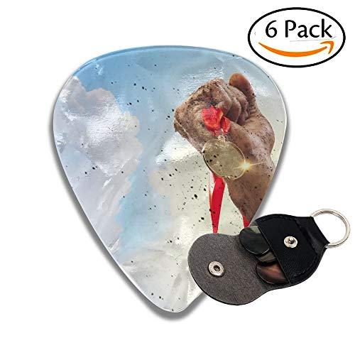 Wxf Hand Held Medal Against A Stormy Sky Stylish Celluloid Guitar Picks Plectrums For Guitar Bass 6 Pack.96mm - Bass Guitar Pack