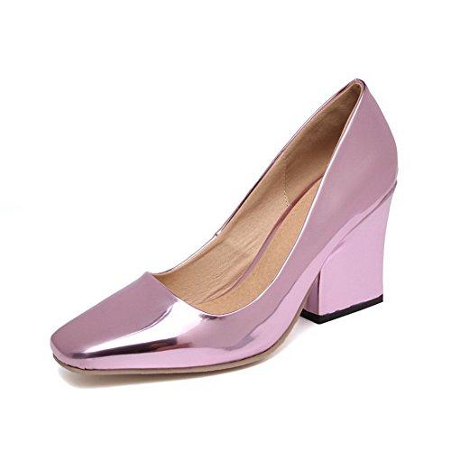 AllhqFashion Femme Tire Fermeture D'Orteil Carré à Talon Haut Pu Cuir Couleur Unie Chaussures Légeres Violet