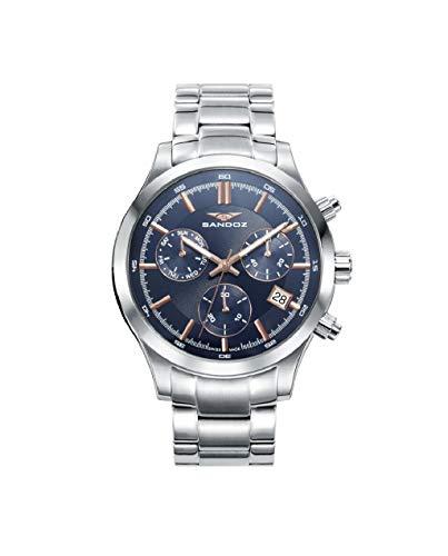Sandoz 81383-37 Montre à Quartz pour Homme avec chronomètre Taille 43 mm Bracelet