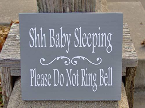 qidushop Dekoschild mit Aufschrift Shh Baby Sleeping Please Do Not Ring Bell New Mom Babies Twins Baby Kinderzimmer Kind Junge Mädchen Kid Dad Parent Dusche Geschenk Wanddekoration Holz Schild (Twin Baby-dusche-dekorationen)