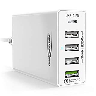 ANSMANN 5-Port USB Charger 60W - USB-C Power Delivery 30W & Quick Charge 3.0 Ladegerät mit intelligenter Ladesteuerung für Handy, Smartphone, Tablet, GoPro, Raspberry Pi, e-Book Reader, Fahrradlicht