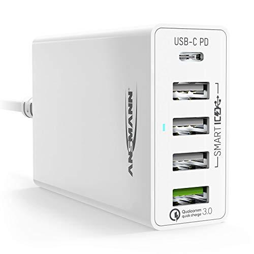 ANSMANN 5-Port USB Charger 60W - USB-C Power Delivery 30W & Quick Charge 3.0 Ladegerät mit intelligenter Ladesteuerung für Handy, Smartphone, Tablet, GoPro, Raspberry Pi, e-Book Reader, Fahrradlicht -