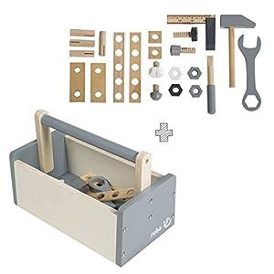 Caja de herramientas para niños roba, caja de herramientas de madera con  kit de construcción de madera que incluye 22  piezas